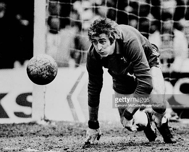 Chelsea goalkeeper Peter Bonetti in action circa 1970