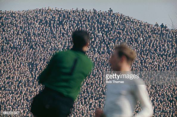 Chelsea goalkeeper Peter Bonetti in action in front of a large crowd on the terraces of Hillsborough Stadium in Sheffield circa 1970