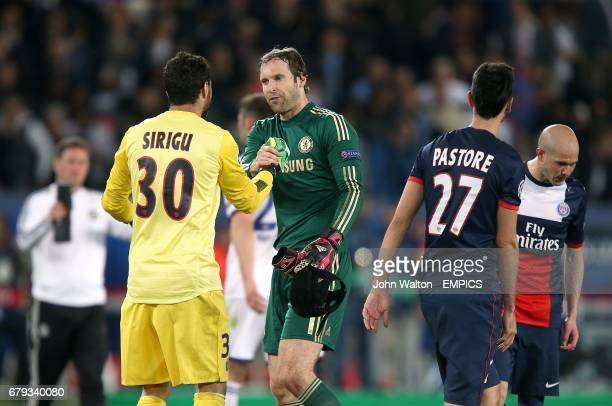 Chelsea goalkeeper Petr Cech and PSG goalkeeper Salvatore Sirigu shake hands after the final whistle