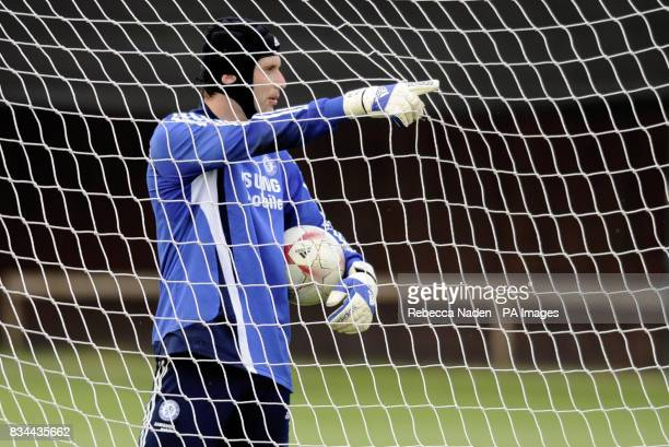 Chelsea goalkeeper Petr Cech during the UEFA Champions League Media Day at Cobham London