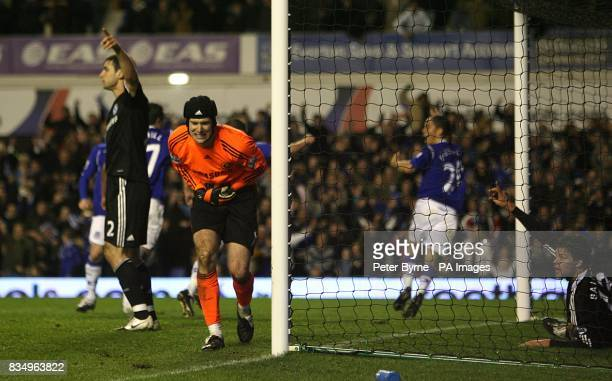 Chelsea goalkeeper Petr Cech falls to the floor injured as Everton's Steven Pienaar begins to celebrate his goal which is disallowed for offside