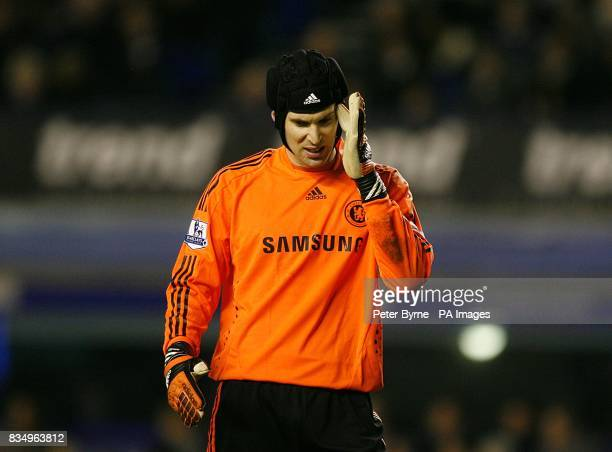 Chelsea goalkeeper Petr Cech feels the effects after taking a knock