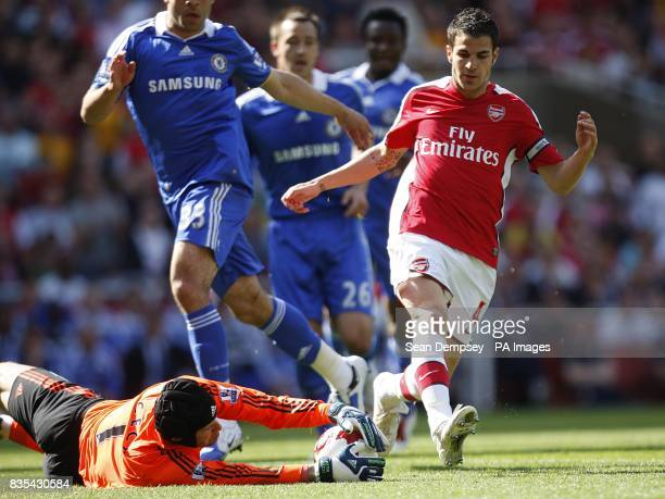 Chelsea goalkeeper Petr Cech makes the save from Arsenal's Francesc Fabregas