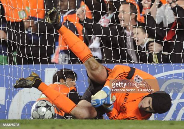 Chelsea goalkeeper Petr Cech on the floor after Liverpool's Dirk Kuyt scored their fourth goal