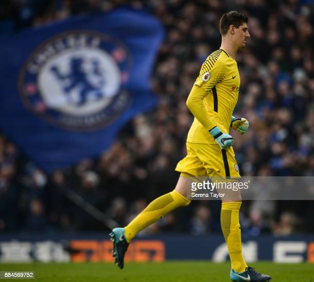 Chelsea Goalkeeper Thibaut Courtois celebrates after Chelsea equalise during the Premier League match between Chelsea and Newcastle United at...