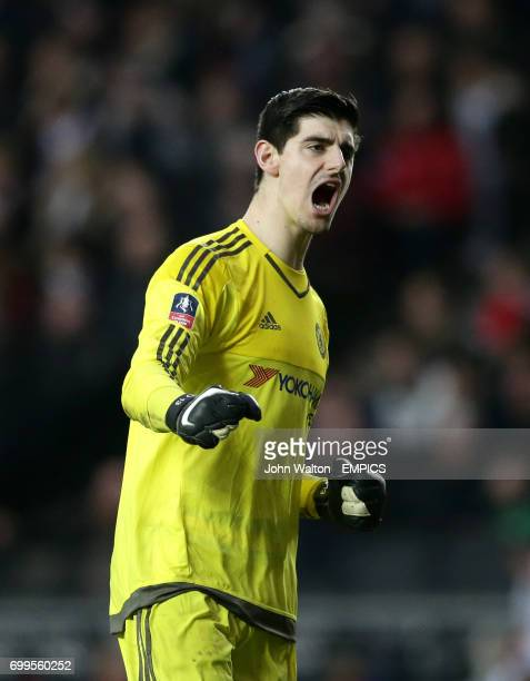 Chelsea goalkeeper Thibaut Courtois celebrates his team's second goal of the game