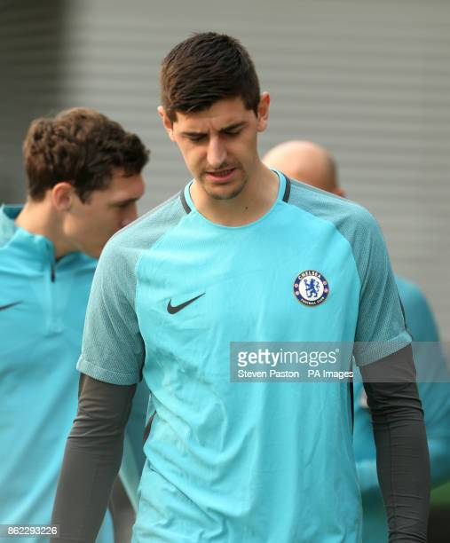 Chelsea goalkeeper Thibaut Courtois during a training session at Chelsea FC Training Ground Stoke D'Abernon