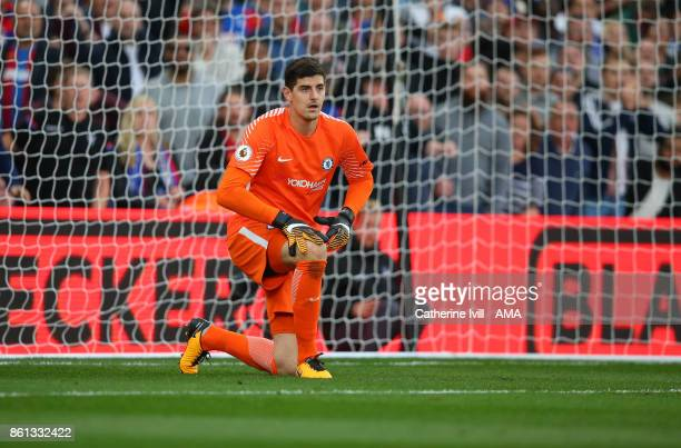 Chelsea goalkeeper Thibaut Courtois during the Premier League match between Crystal Palace and Chelsea at Selhurst Park on October 14 2017 in London...