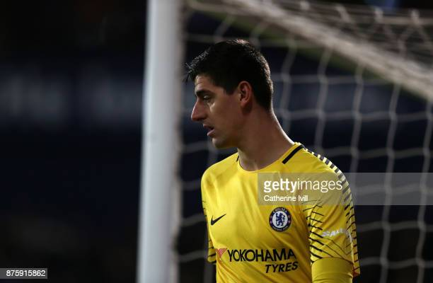 Chelsea goalkeeper Thibaut Courtois during the Premier League match between West Bromwich Albion and Chelsea at The Hawthorns on November 18 2017 in...