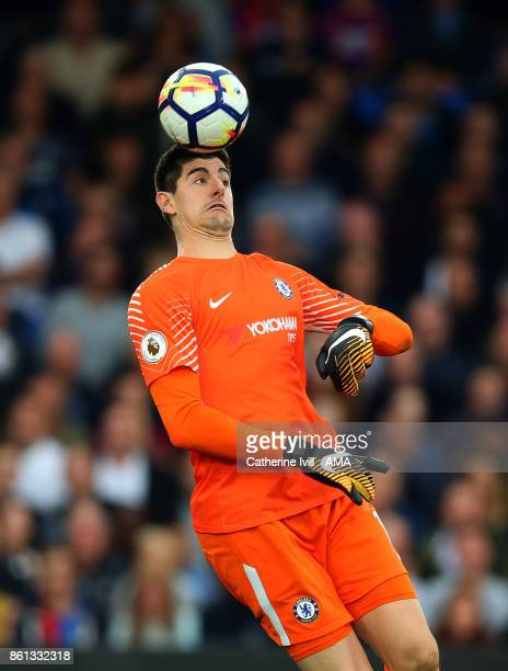 Chelsea goalkeeper Thibaut Courtois heads the ball during the Premier League match between Crystal Palace and Chelsea at Selhurst Park on October 14...
