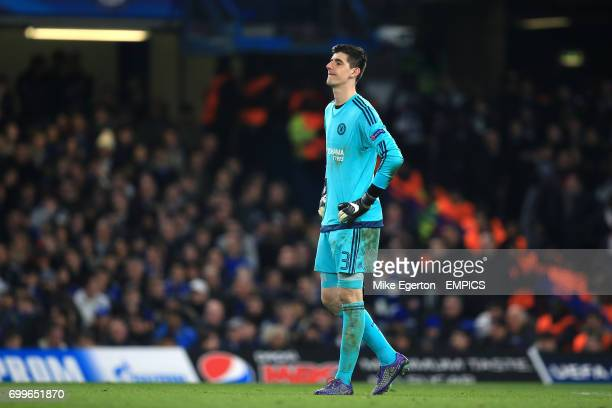 Chelsea goalkeeper Thibaut Courtois looks dejected after the final whistle