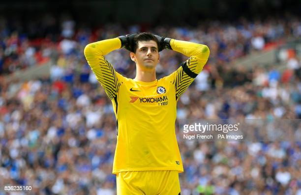 Chelsea goalkeeper Thibaut Courtois shows his frustration