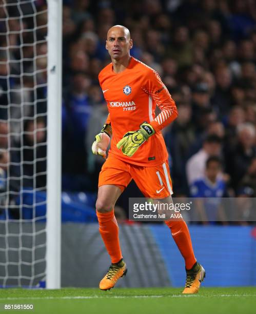Chelsea goalkeeper Willy Caballero during the Carabao Cup Third Round match between Chelsea and Nottingham Forest at Stamford Bridge on September 20...