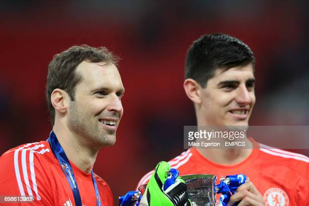 Chelsea goalkeepers Petr Cech and Thibaut Courtois