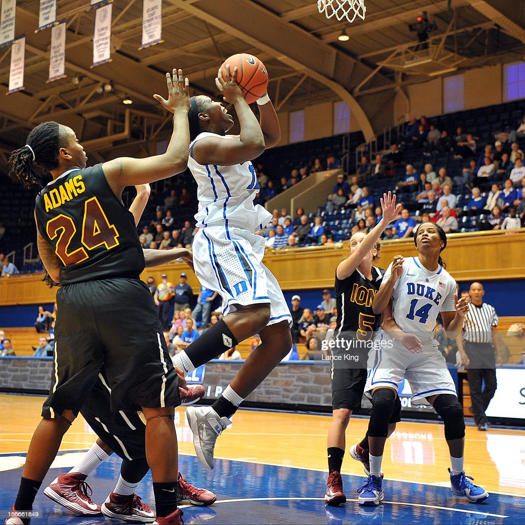 Chelsea Gray #12 of the Duke Blue Devils goes to the hoop against the Iona Gaels at Cameron Indoor Stadium on November 18, 2012 in Durham, North Carolina.