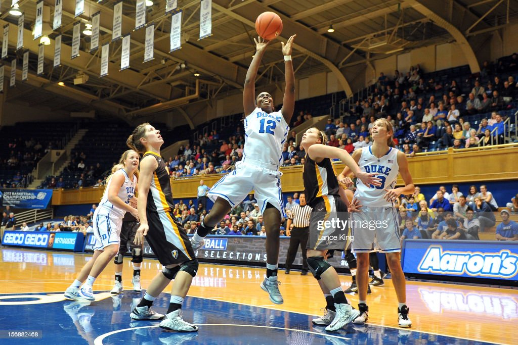 Chelsea Gray #12 of the Duke Blue Devils puts up a shot against the Valparaiso Crusaders at Cameron Indoor Stadium on November 23, 2012 in Durham, North Carolina.