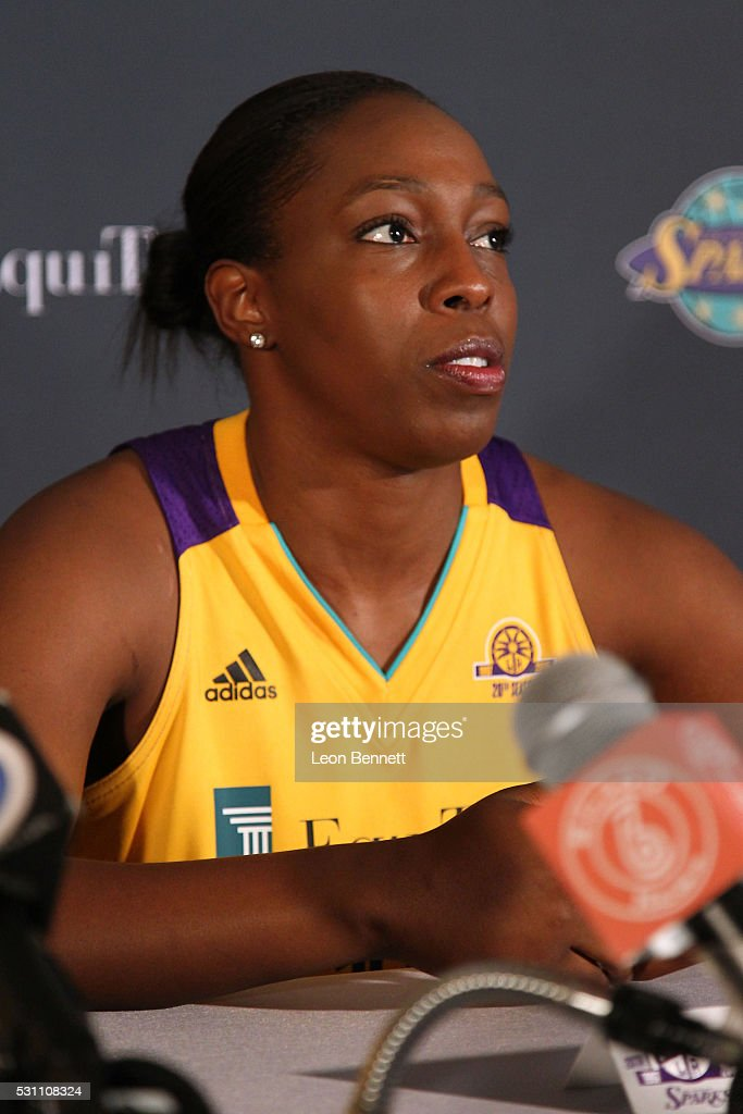 Chelsea Gray #12 of the Los Angeles Sparks attends Los Angeles Sparks Media Day at St Mary's High School on May 12, 2016 in Los Angeles, California.