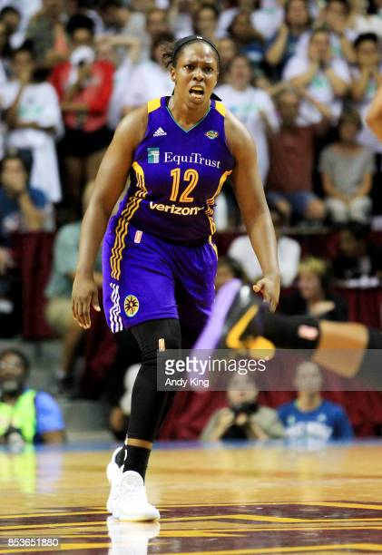 Chelsea Gray of the Los Angeles Sparks celebrates after making the gamewinning basket over the Minnesota Lynx during the fourth quarter of Game One...