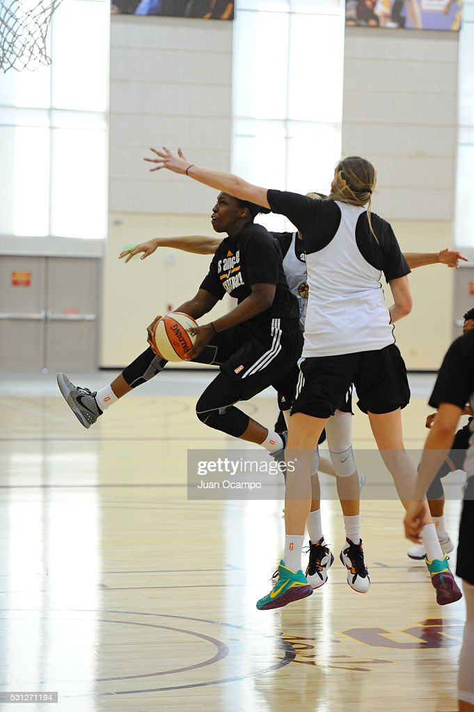 Chelsea Gray of the Los Angeles Sparks drives to the basket during practice on May 12, 2016 at Galen Center in Los Angeles, California.