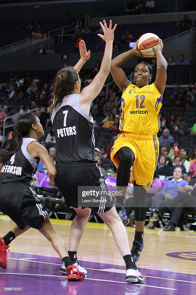 <a gi-track='captionPersonalityLinkClicked' href=/galleries/search?phrase=Chelsea+Gray&family=editorial&specificpeople=7420247 ng-click='$event.stopPropagation()'>Chelsea Gray</a> #12 of the Los Angeles Sparks handles the ball against Haley Peters #7 of the San Antonio Stars during a WNBA basketball game at Staples Center on June 2, 2016 in Los Angeles, California.
