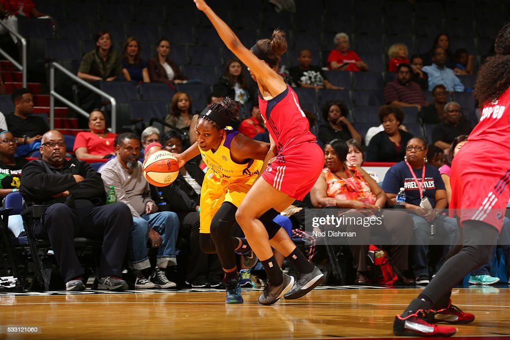 Chelsea Gray #12 of the Los Angeles Sparks handles the ball against the Washington Mystics on May 20, 2016 at the Verizon Center in Washington, DC.