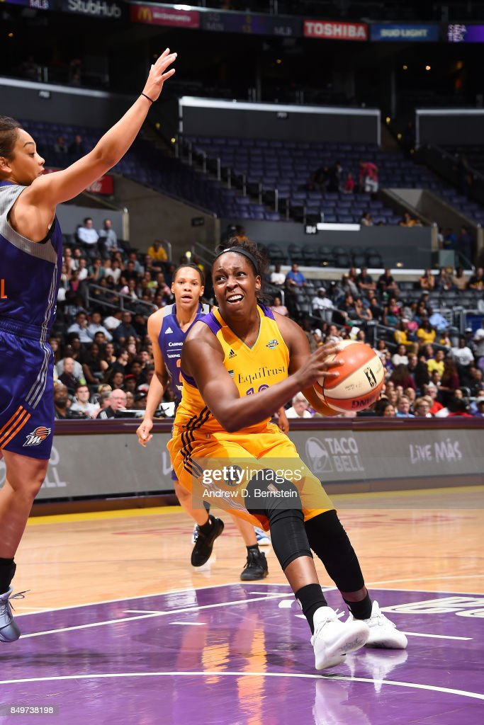 Chelsea Gray #12 of the Los Angeles Sparks handles the ball against the Phoenix Mercury in Game One of the Semifinals during the 2017 WNBA Playoffs on September 12, 2017 at STAPLES Center in Los Angeles, California.