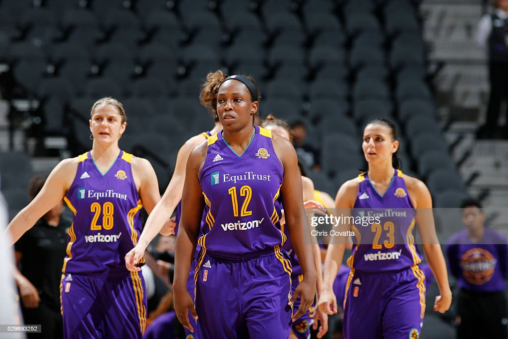 <a gi-track='captionPersonalityLinkClicked' href=/galleries/search?phrase=Chelsea+Gray&family=editorial&specificpeople=7420247 ng-click='$event.stopPropagation()'>Chelsea Gray</a> #12 of the Los Angeles Sparks is seen during the game against the San Antonio Stars on May 9, 2016 at the AT&T Center in San Antonio, Texas.