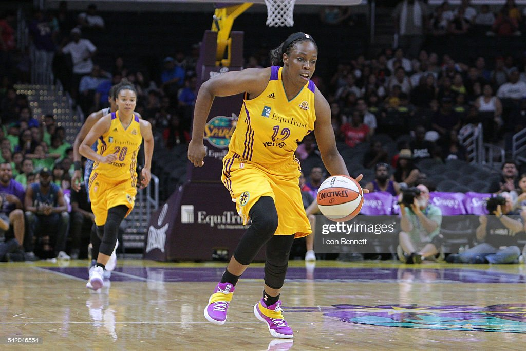<a gi-track='captionPersonalityLinkClicked' href=/galleries/search?phrase=Chelsea+Gray&family=editorial&specificpeople=7420247 ng-click='$event.stopPropagation()'>Chelsea Gray</a> #12 of the Los Angeles Sparks pushes the ball up the court against the Minnesota Lynx during a WNBA basketball game at Staples Center on June 21, 2016 in Los Angeles, California.