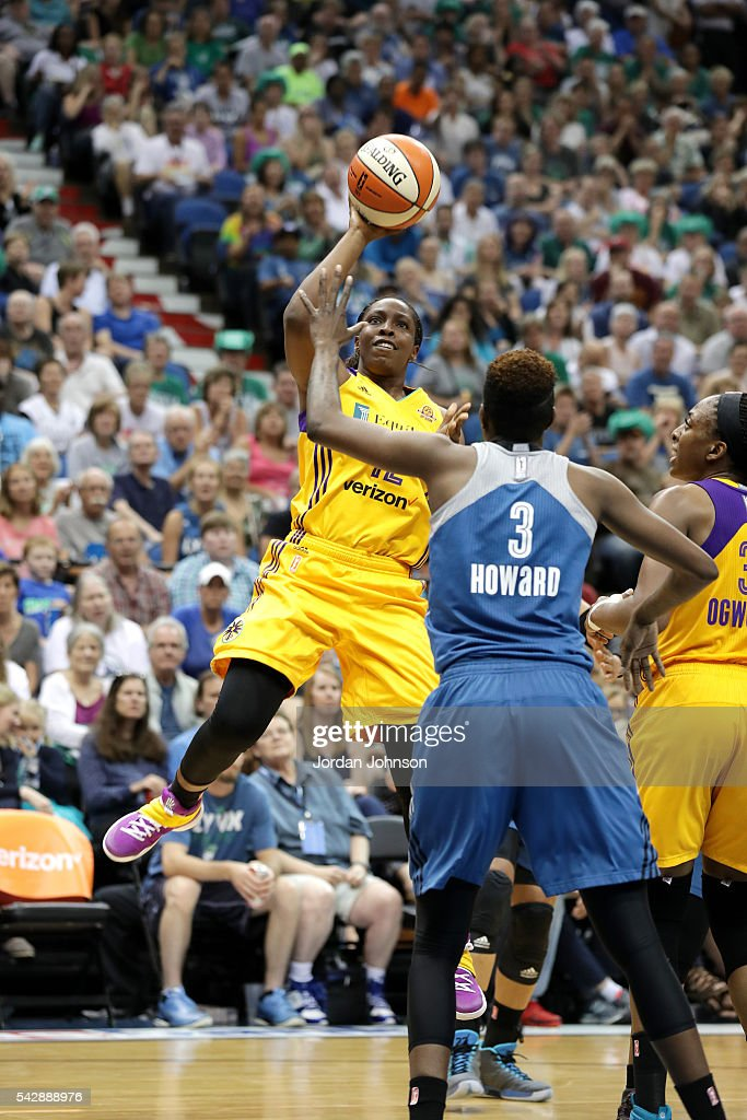 <a gi-track='captionPersonalityLinkClicked' href=/galleries/search?phrase=Chelsea+Gray&family=editorial&specificpeople=7420247 ng-click='$event.stopPropagation()'>Chelsea Gray</a> #12 of the Los Angeles Sparks shoots the ball during the game against the Minnesota Lynx during the WNBA game on June 24, 2016 at Target Center in Minneapolis, Minnesota.