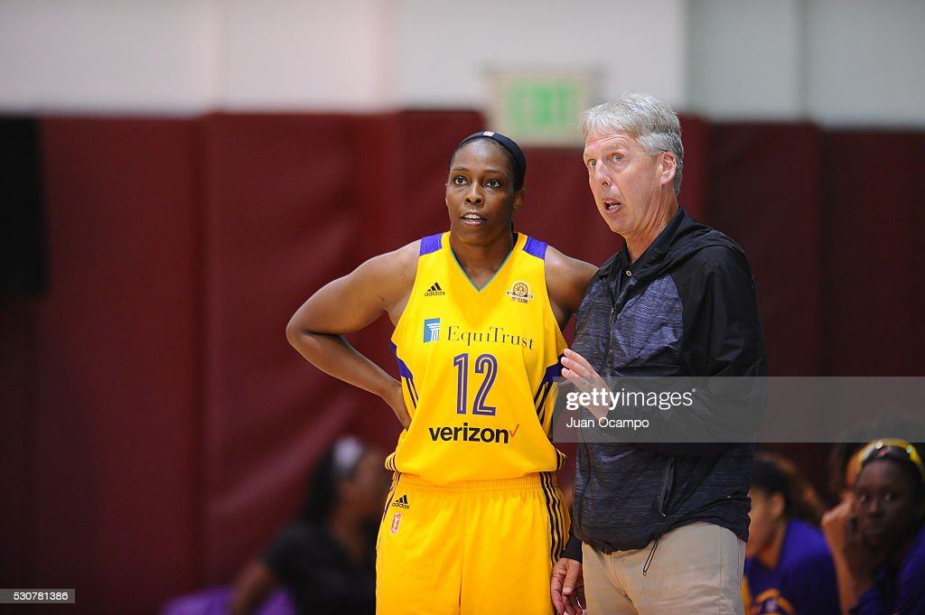 Chelsea Gray #12 of the Los Angeles Sparks talsk to Head Coach Brian Agler of the Los Angeles Sparks during a preseason game on May 7, 2016 at Pasadena City College in Pasadena, California.