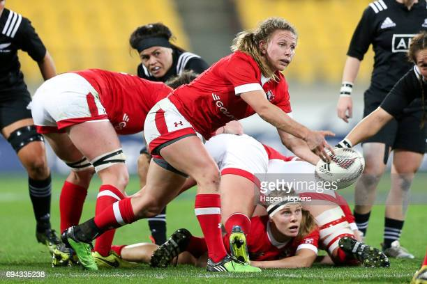 Chelsea Guthrie of Canada looks to pass during the Women's International Test match between the New Zealand Black Ferns and Canada at Westpac Stadium...