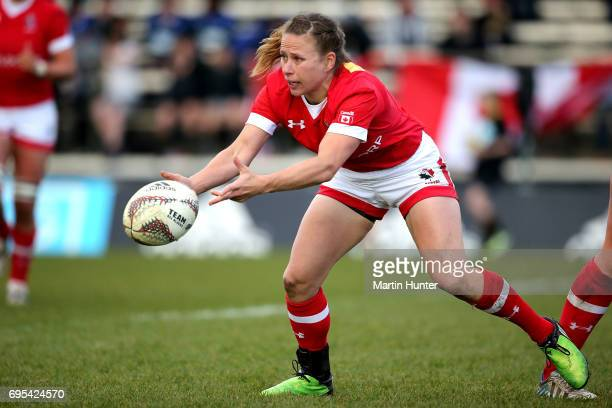 Chelsea Guthrie of Canada looks to pass from a ruck during the Women's International Test match between Canada and the England Roses at Rugby Park on...