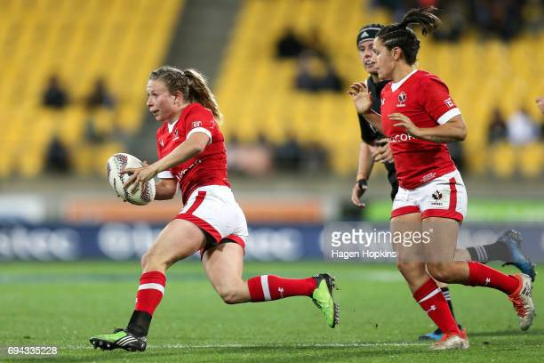 Chelsea Guthrie of Canada makes a break during the Women's International Test match between the New Zealand Black Ferns and Canada at Westpac Stadium...