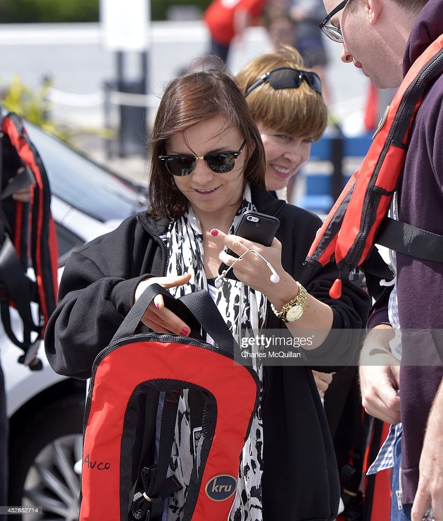 Chelsea Hamill (L) daughter of actor Mark Hamill and his wife Marilou (R) arrive at Portmagee harbour to be transported to the set on the JJ Abrams directed Star Wars Episode VII on July 28, 2014 in Skellig Island, Ireland.