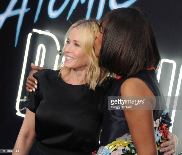 Chelsea Handler and Aisha Tyler arrive at the premiere of Focus Features' 'Atomic Blonde' at The Theatre at Ace Hotel on July 24 2017 in Los Angeles...