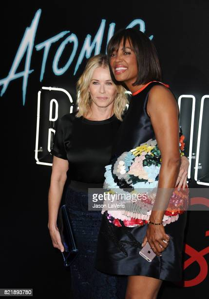 Chelsea Handler and Aisha Tyler attend the premiere of 'Atomic Blonde' at The Theatre at Ace Hotel on July 24 2017 in Los Angeles California