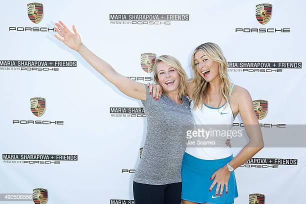 Chelsea Handler and Maria Sharapova attend the 'Maria Sharapova and Friends Presented by Porsche' media day at the UCLA Tennis Center on October 13...