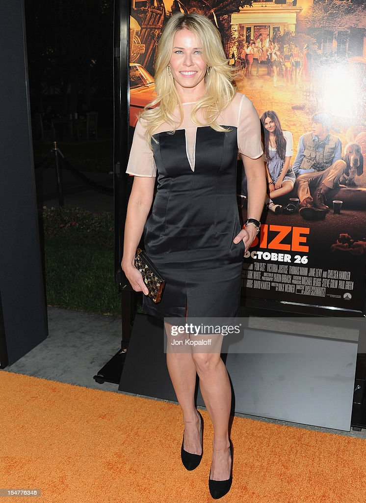 Chelsea Handler arrives at the Los Angeles Premiere 'Fun Size' at Paramount Theater on the Paramount Studios lot on October 25 2012 in Hollywood...