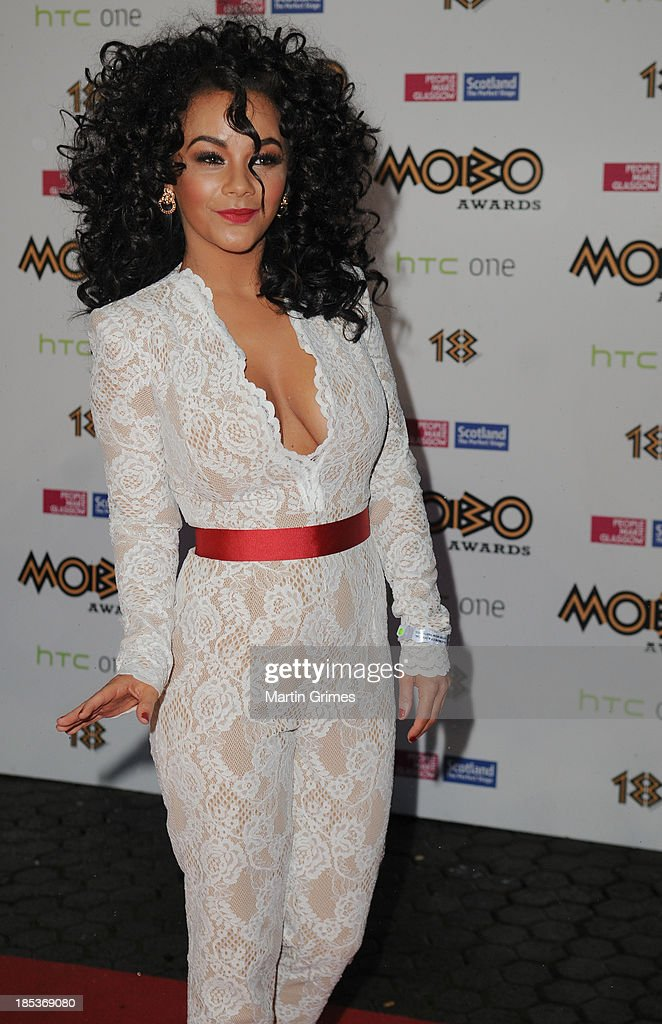 Chelsea Healy poses at the 18th anniversary MOBO Awards at The Hydro on October 19, 2013 in Glasgow, Scotland.