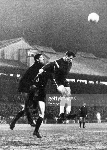 Chelsea insideright Graham jumps with Balzarini goalkeeper and Maldini centrehalf and captain of Milan AC during the third round InterCities Fairs...