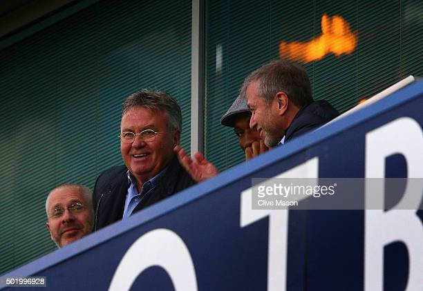 Chelsea interim manager Guus Hiddink Didier Drogba of Montreal Impact and Chelsea owner Roman Abramovich are seen on the stand prior to the Barclays...