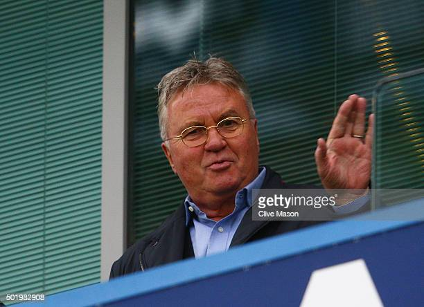 Chelsea interim manager Guus Hiddink waves to supporters on the stand prior to the Barclays Premier League match between Chelsea and Sunderland at...