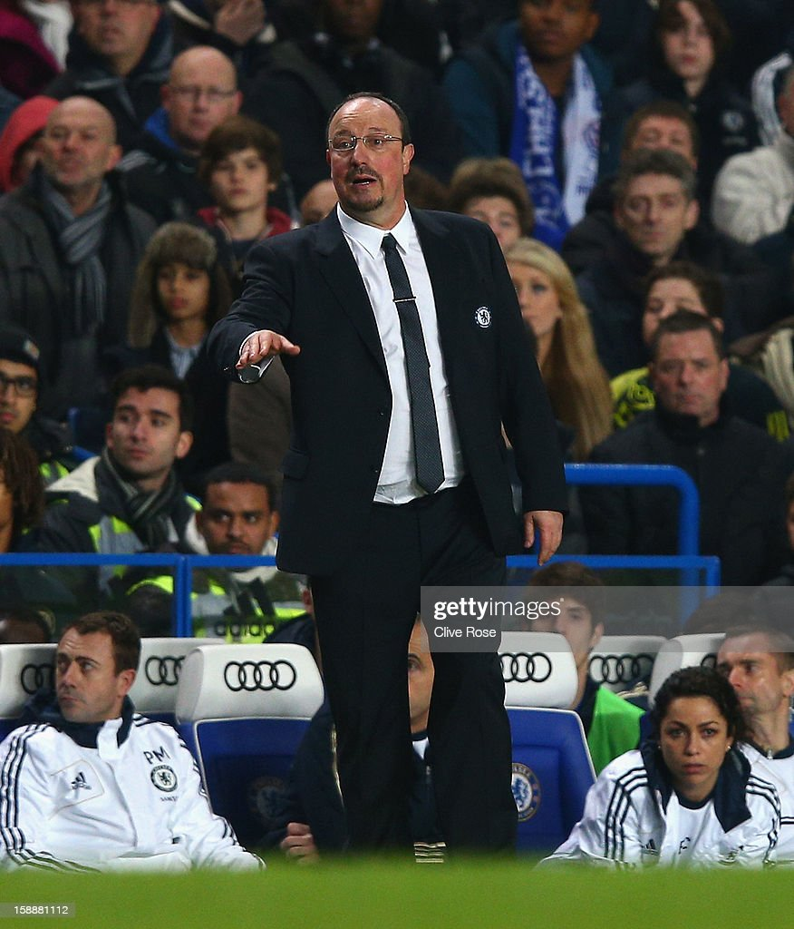Chelsea interim manager Rafael Benitez directs his team during the Barclays Premier League match between Chelsea and Queens Park Rangers at Stamford Bridge on January 2, 2013 in London, England.