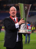 Chelsea Interim Manager Rafael Benitez poses with the trophy during the UEFA Europa League Final between SL Benfica and Chelsea FC at Amsterdam Arena...