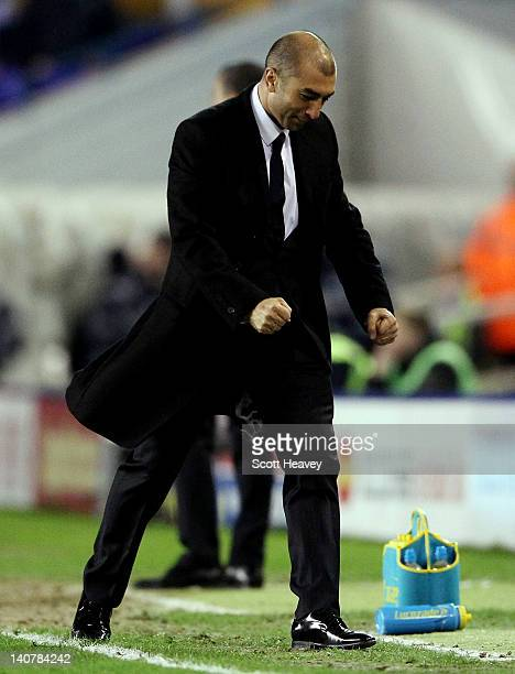 Chelsea interim manager Roberto Di Matteo celebrates after their second goal during the FA Cup Fifth Round Replay between Birmingham City and Chelsea...