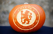Chelsea jacko'lantern is displayed prior to the Barclays Premier League match between Chelsea and Liverpool at Stamford Bridge on October 31 2015 in...