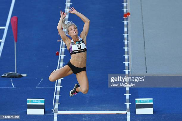 Chelsea Jaensch of Queensland competes in the womens long jump during the Australian Athletics Championships at Sydney Olympic Park on April 3 2016...