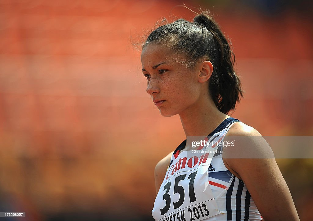 Chelsea Jarvis of Great Britain concentrates on her run as she prepares herself for the Girls 800m Round 1 race during Day 2 of the IAAF World Youth Championships at the RSC Olimpiyskiy Stadium on July 11, 2013 in Donetsk, Ukraine.