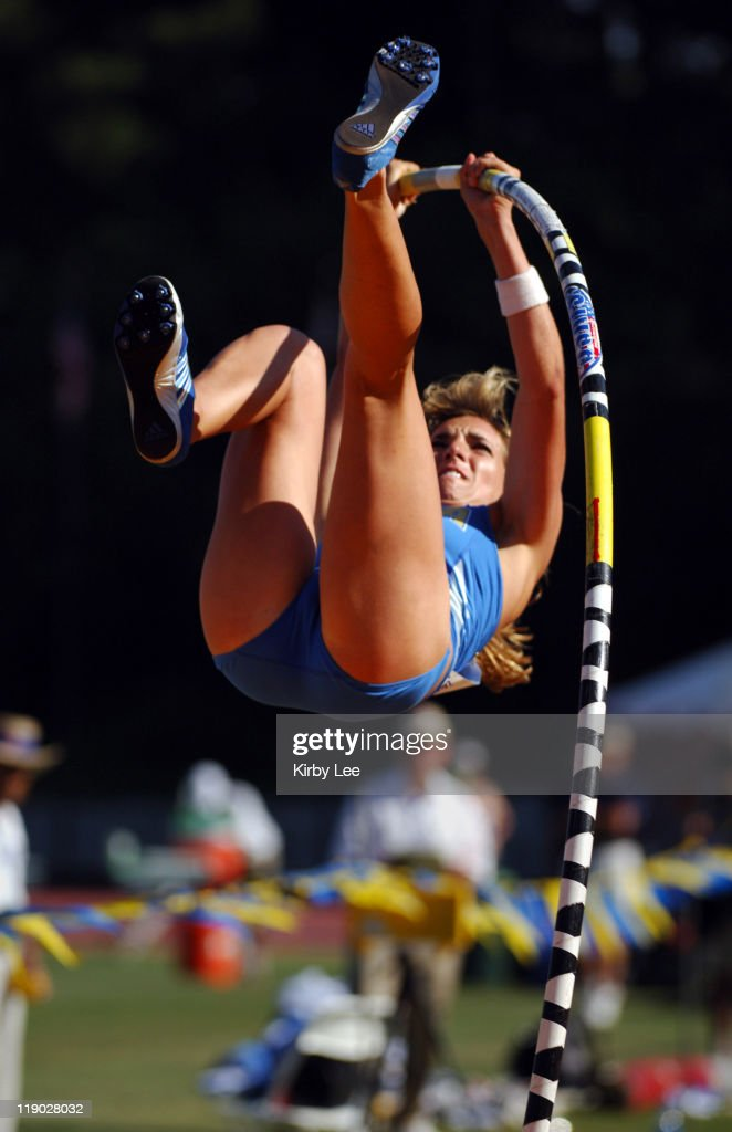 Chelsea Johnson of UCLA won the women's pole vault at 137 1/4 in the Pacific10 Conference Track Field Championships at UCLA's Drake Stadium in...