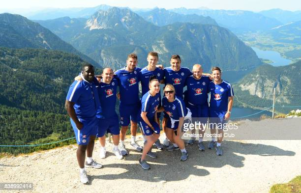 Chelsea Ladies coaching staff and Emma Hayes manager of Chelsea on Mount Krippenstein on August 25 2017 in Schladming Austria